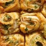 Close up of turkey swiss rolls