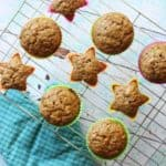 BAnana muffins on cooling rack with teal kitchen mitten