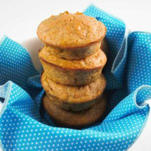 Stack of sweet potato muffins on a blue towel