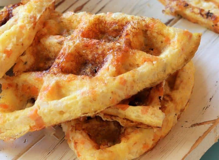 close up of veggie waffles