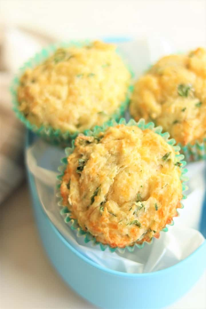 Spinach Cheesy Muffins in Blue Lunch Box