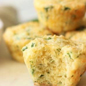 The inside of the spinach cheesy muffins