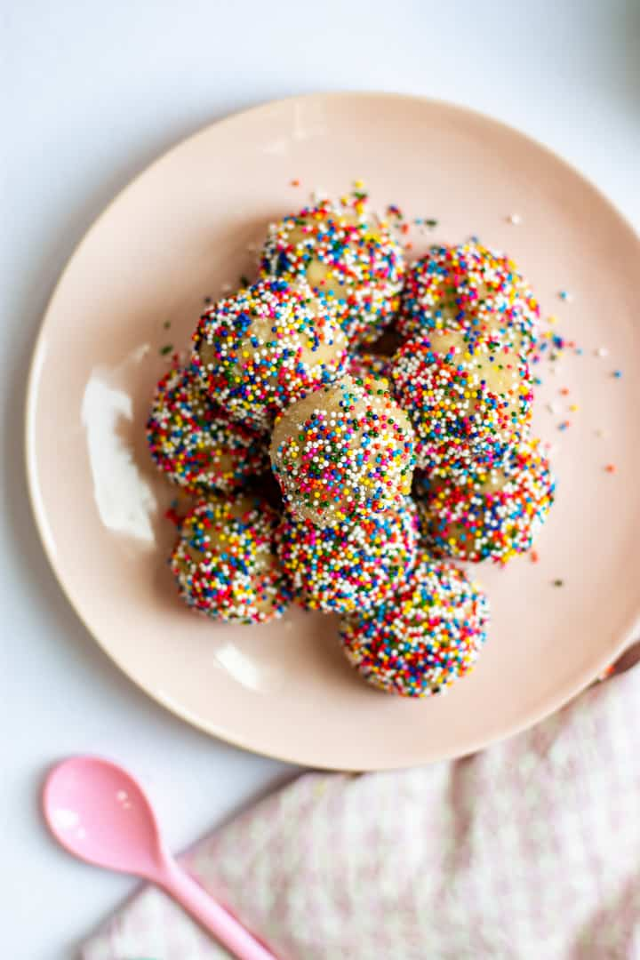 plate of cookie bites with sprinkles on top