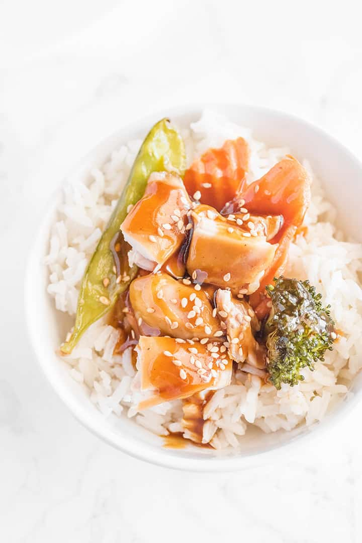 Bowl of Teriyaki Chicken on Rice with Veggies