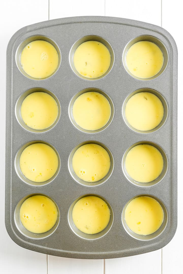 Muffin tin of egg mixture