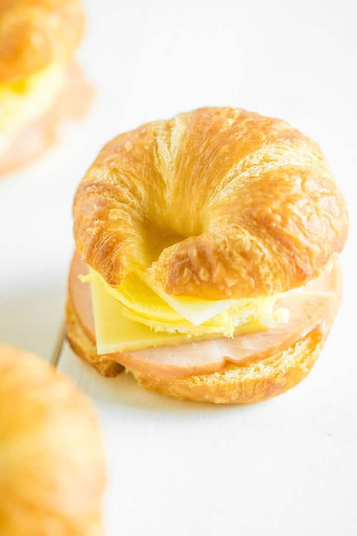 Close up of breakfast sandwich