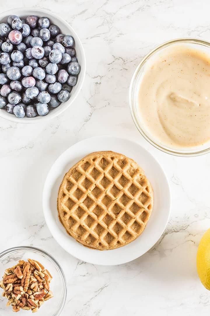 Blueberries, waffles and coconut yogurt