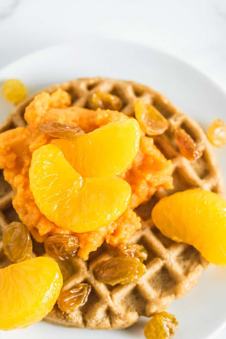 Close up of waffle with sweet potato sunrise toppings