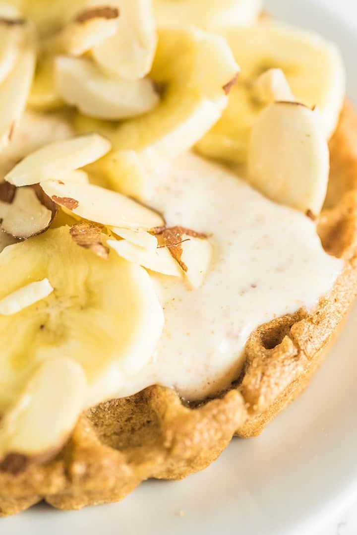 Close up of banana parfait toppings