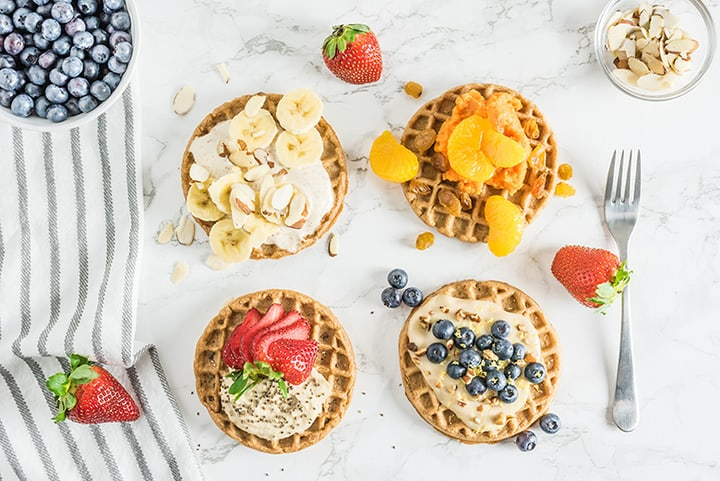 4 Waffles with Different Toppings