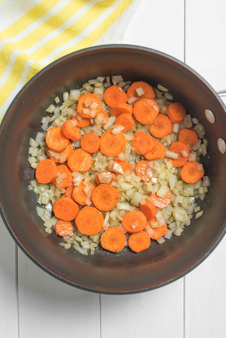 Pot of carrots onions