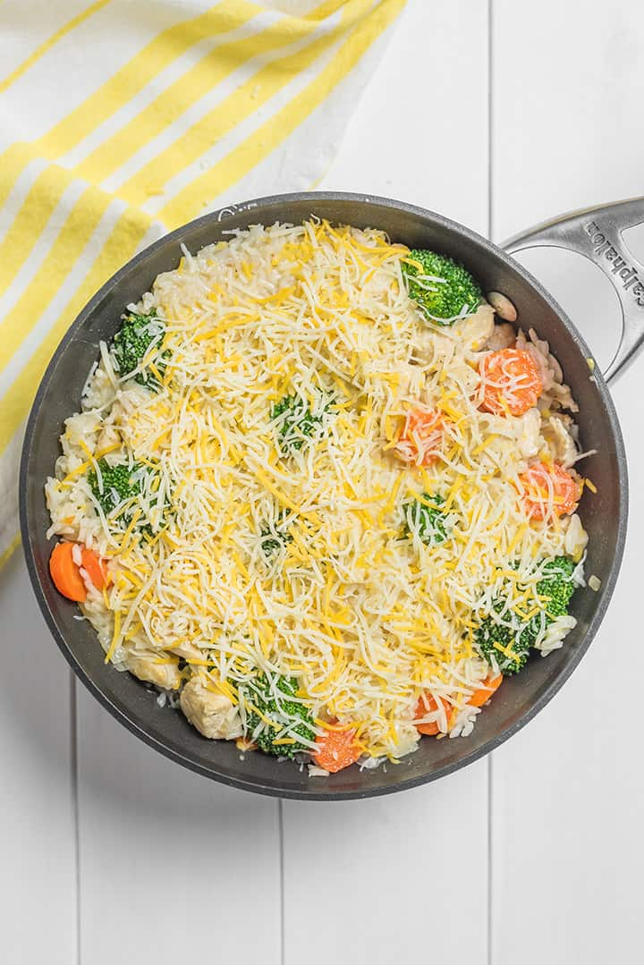 Dutch oven of cheese and broccoli