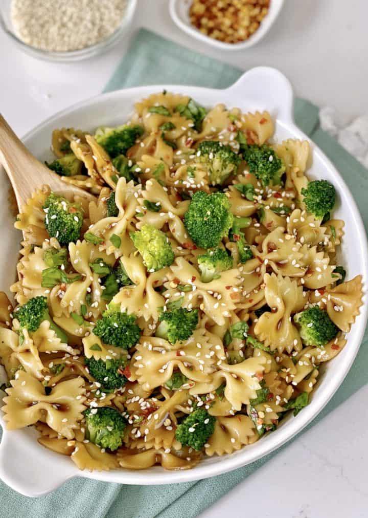 Close up of bow tie pasta