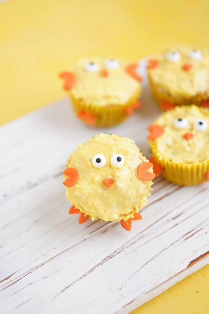 Chick muffin on white board with muffins background