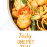 pan of thai noodles including shrimp, green beans, almonds, cilantro, and shrimp