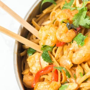 Pan of Thai noodles with chopsticks