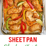 Sheet pan with seasoned chicken, sliced bell peppers