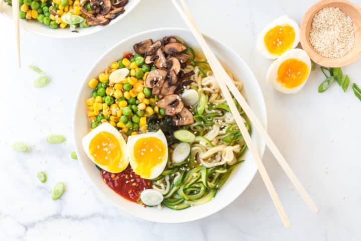 Bowl of ramen noodles, boiled eggs