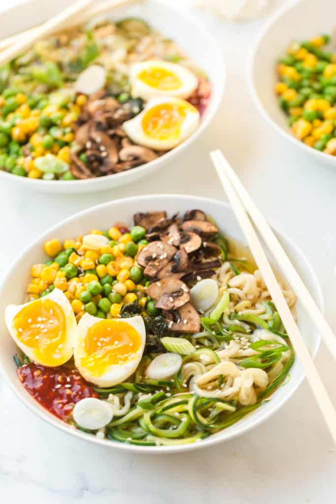 Noodles with zucchini, with hard boiled egg, mixed veggies, mushroom, and eggs