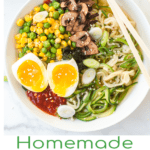 Photo with Homemade Ramen Zoodles/Noodles Soup, bowl of ramen soup with vegetables and egg