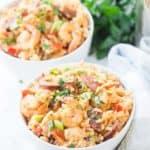 two bowls of seafood jamabalaya