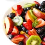 Bowl of fresh fruit close up