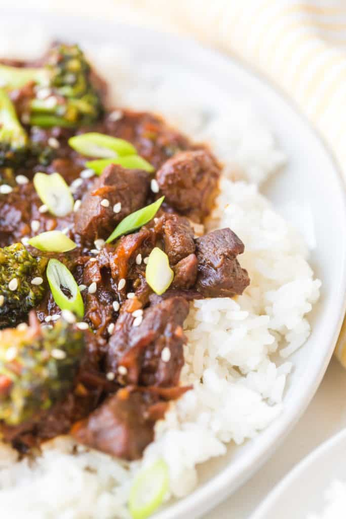 Close up of Korean Beef with scallions