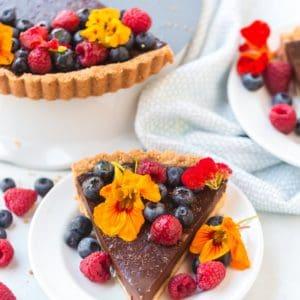 Close up of sliced chocolate tart