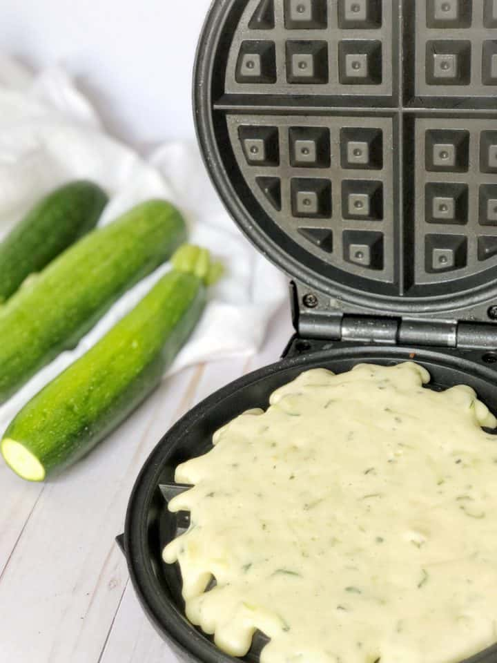 waffle maker filled with batter
