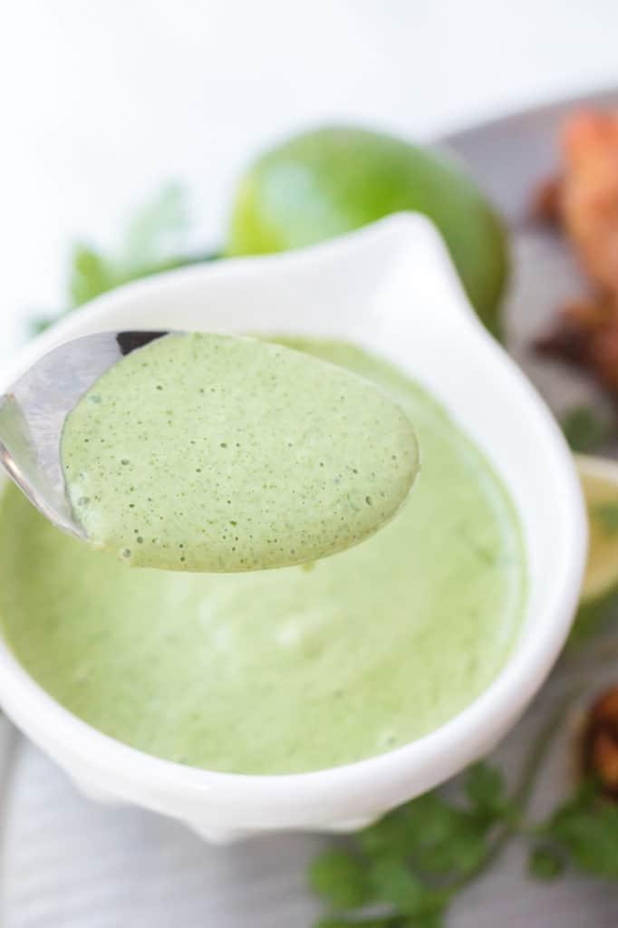 Green sauce close up