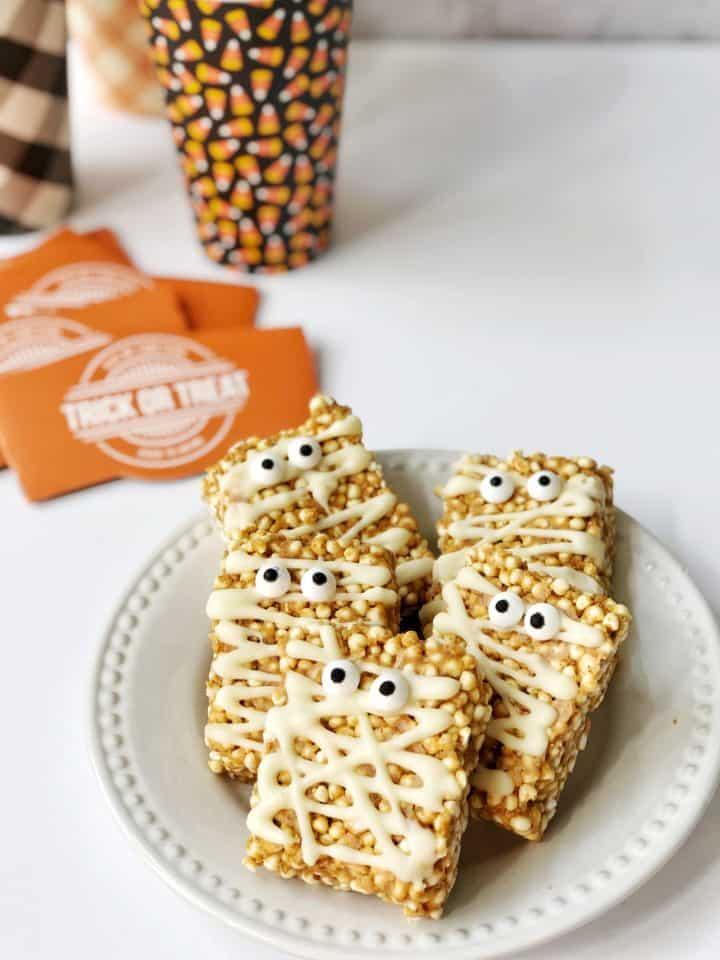 Plate of mummy rice krispy treats