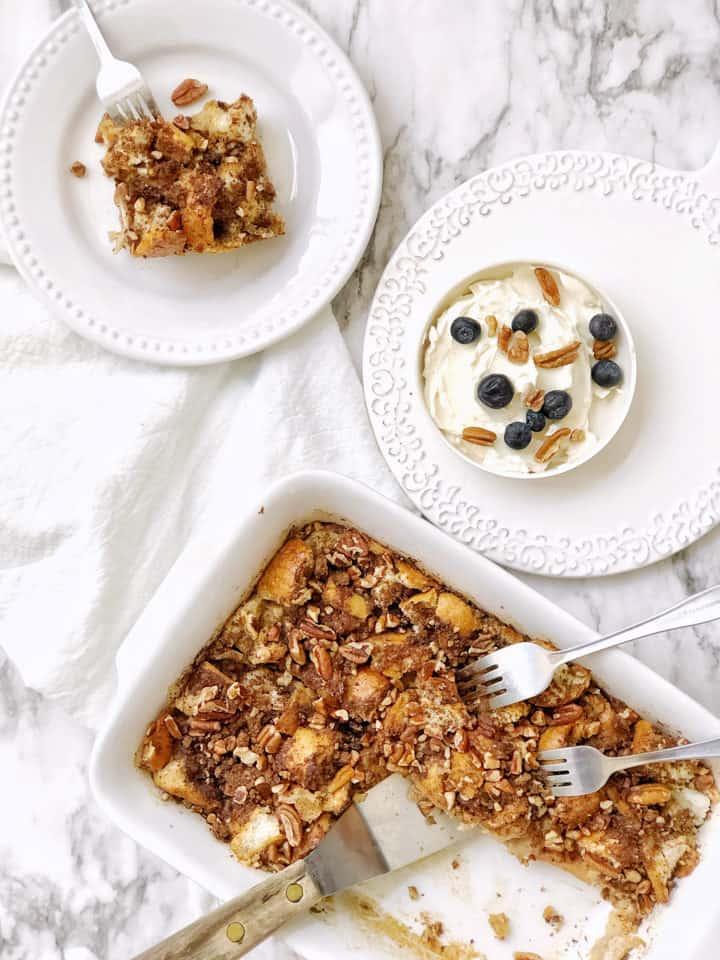 Flat lay of yogurt and french toast bake