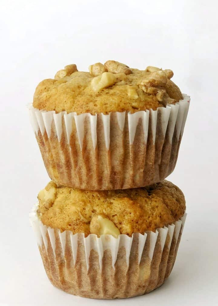 Banana Muffins stacked on top of eahother