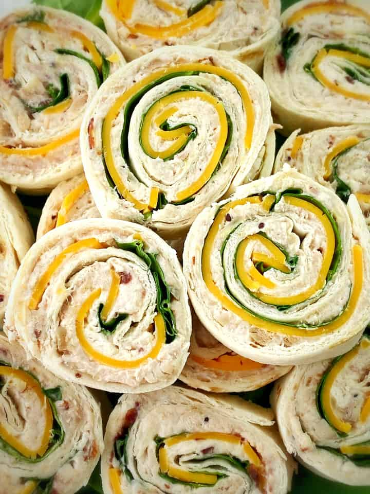 Close up of several tortilla roll ups