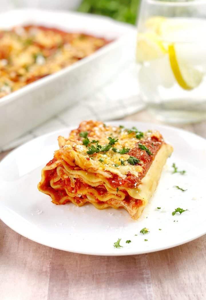 single lasagna roll on a plate