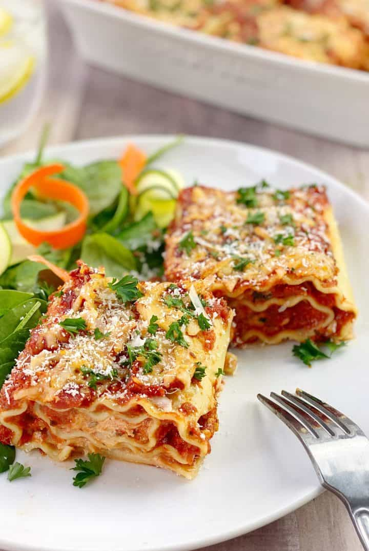 vegetarian lasagna with vegetables on plate