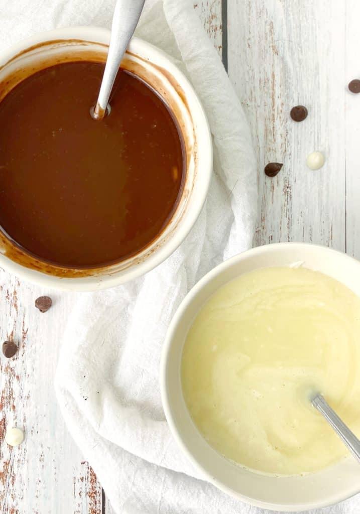 Bowls of ganache white and chocolate
