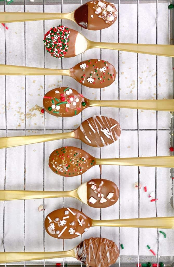 chocolate spoons on a baking rack