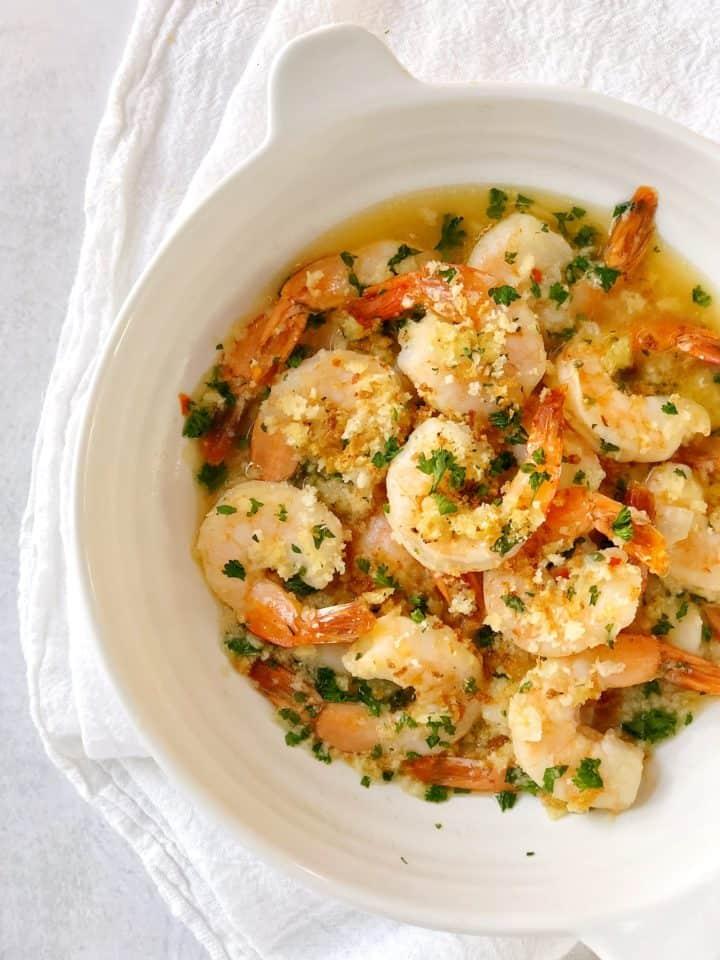 shrimp scampi in a bowl