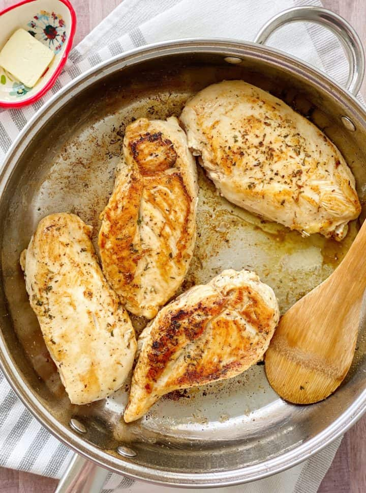 Pan of browned chicken