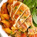Plate of chicken and penne