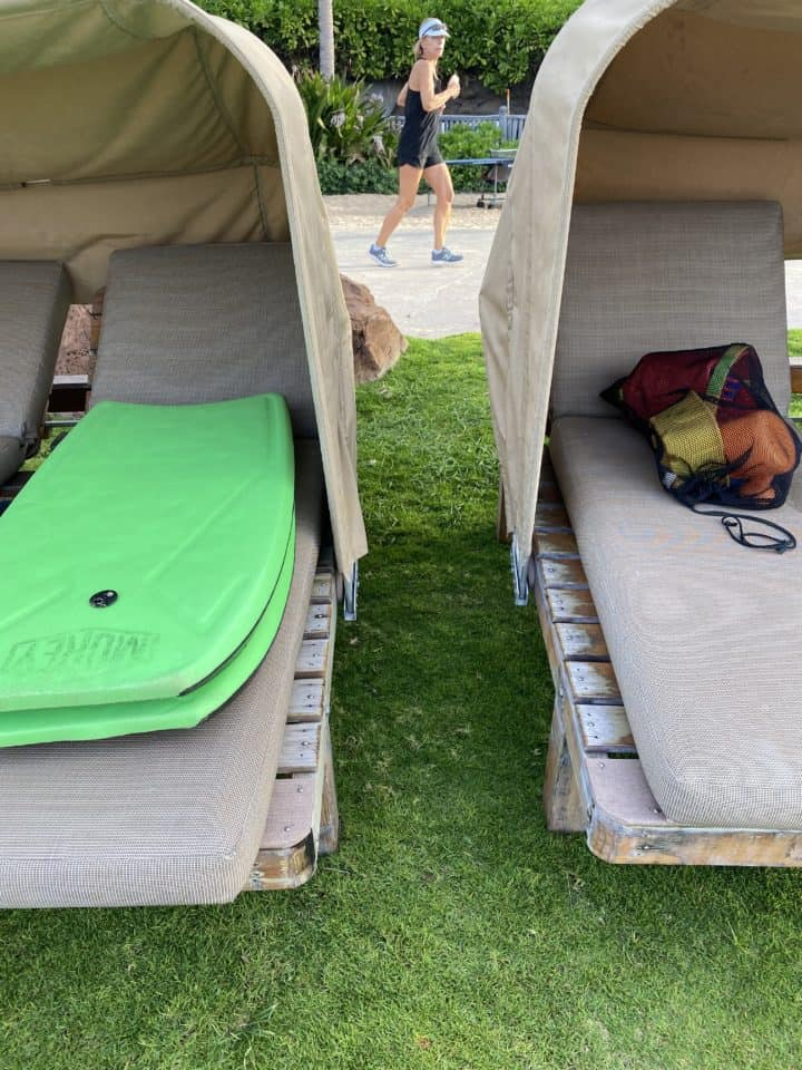 Beach beds with boogie board and toys