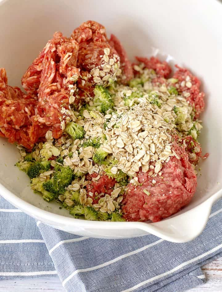 bowl of meatball ingredients