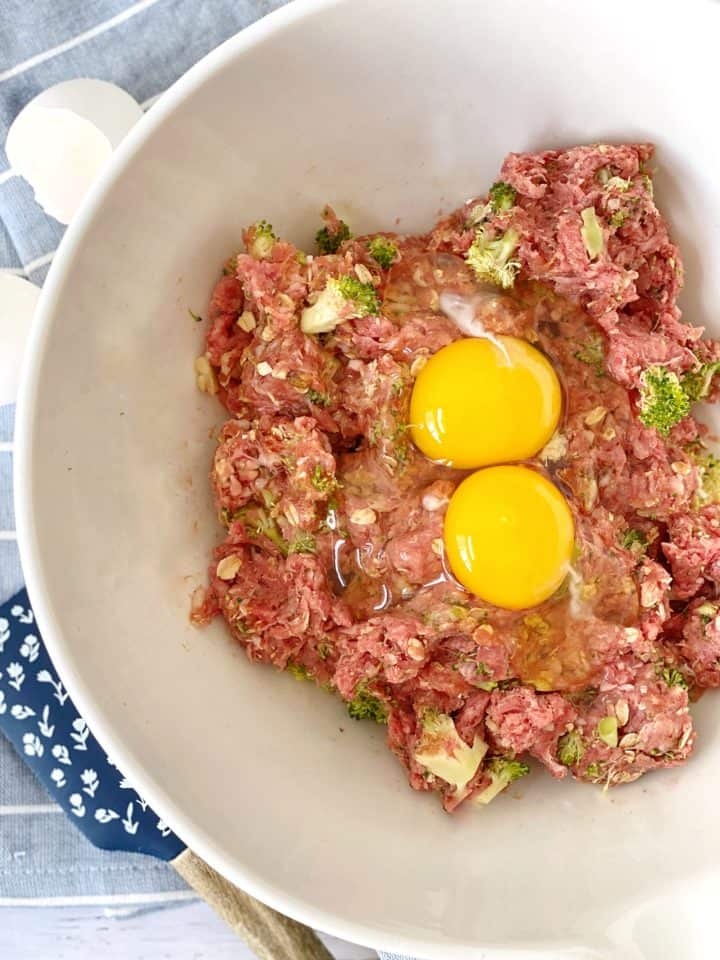 bowl with ground pork, bowl with ground beef, zucchini