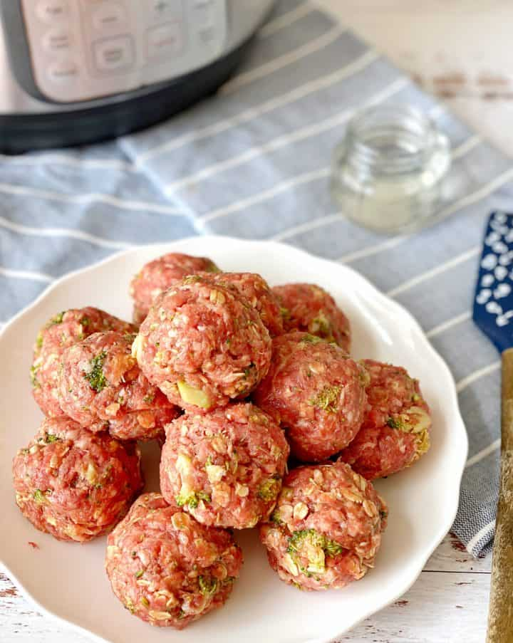 ground meat mixture shaped in balls