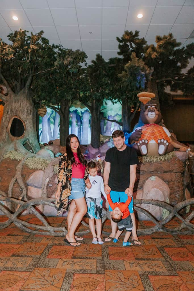 Family in front of bear stage