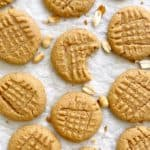 peanut butter cookies on parchment paper