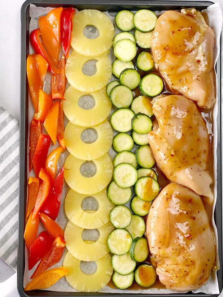 sheet pan of vegetables and chicken