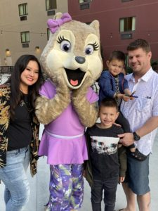 family photo with violet a character wolf