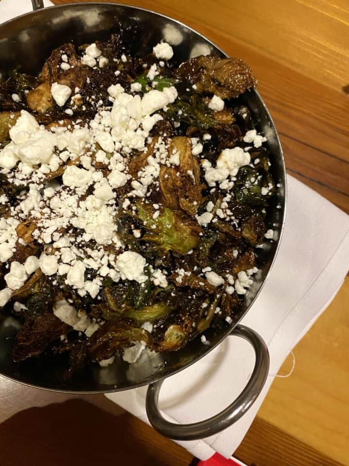 brussel sprouts glazed with balsamic vinegar and goat cheese